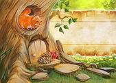 Birthday background with squirrel — Stok fotoğraf
