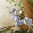 Glorious knight and his horse — Stock Photo #44336251