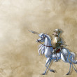 Vintage background with glorious knight and his horse — Stock Photo #44336331