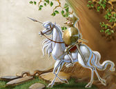 Glorious knight and his horse — Foto Stock