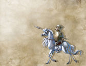 Vintage background with glorious knight and his horse — Stock Photo