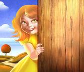 木製の背景に笑っている女の子 — ストック写真