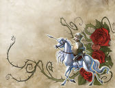 Vintage background with glorious knight and his horse — Foto de Stock