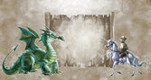 Knight fighting the dragon — Stock Photo