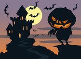 Vampire castle, moon and bats — Stock Vector