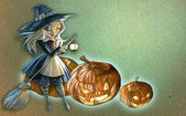 Witch with broomstick — Stock Photo