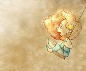 Little cute girl  swinging — Stock Photo