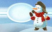 Snowman with ice-cream — Stock Photo