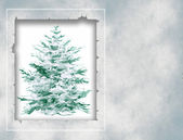 Christmas card  with new year tree — Stock Photo