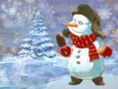 Christmas holiday background with snowman — Stock Photo