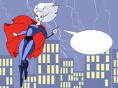 Beautiful super girl in bright costume — Stock Vector