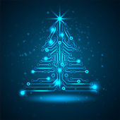 Abstract technology Christmas tree. — Stock Vector