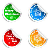 Merry Christmas and Happy New Year stickers set. — Stock Vector