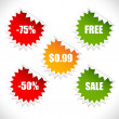 Stock Vector: Colorful vector spring sale stickers. Sale.