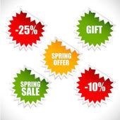 Colorful vector spring sale stickers. Sale. — Vecteur