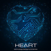 Abstract technology heart. — Vector de stock