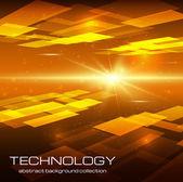 Fond abstrait technologie jaune — Vecteur