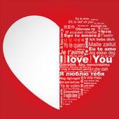 Miluji tě ve všech jazycích — Stock vektor
