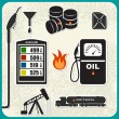 Vector Set of oil icons — Stock Vector