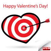 Red heart target vector — Stock Vector