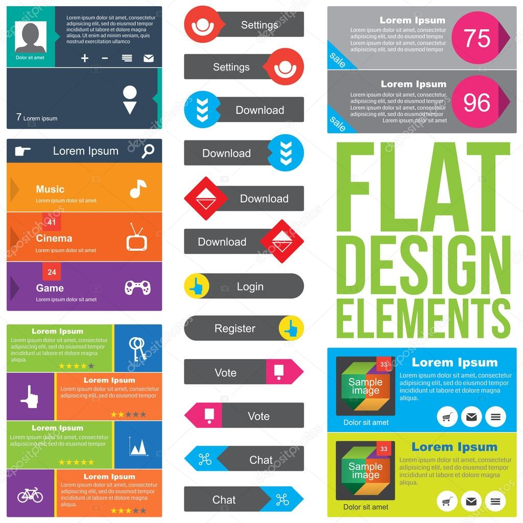 Flat web design elements stock vector premiumdesigner for Flat design pictures