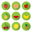 Stock Vector: Fruits Flat Icons
