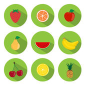 Fruits Flat Icons — Stock Vector