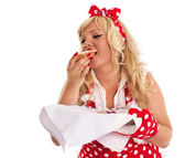 Pin up style. Woman with cakes — Stock Photo