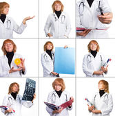 Photo set of senior nurse woman — Stock Photo