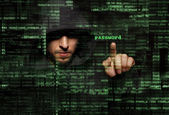 Silhouette of a hacker — Stock Photo