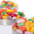 Three Bowls with colored sweet beans — Stock Photo