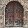 Old Door iron fitted — Stock Photo