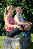 Two aduld meditate — Stok fotoğraf
