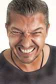 Angry man with red eyes — Stock Photo