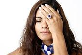 Women with headake — Stock Photo