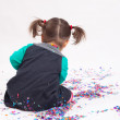 Collecting confetti — Stock Photo