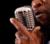 Rasta Singer with microphone — Stock Photo