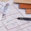 Blueprints of a house - Stock Photo