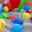 Sandbox with a lot equpe - Stock Photo
