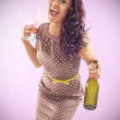 Curly  women with bottle — Stock Photo