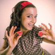 Sixty retro girl with two red hearts — Stockfoto