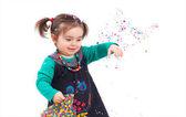 Confetti de jogar menina — Foto Stock