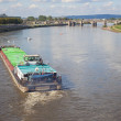 Stock Photo: Freighter on Lake elbe in Dresden