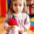 Little girl with puppet — Stock Photo
