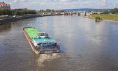 Freighter on Lake elbe in Dresden — Foto de Stock