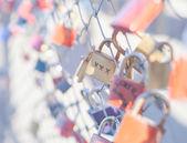 Many Love locks on the bridge in Salzburg — Stock Photo