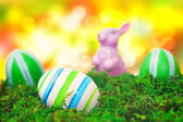 Easter eggs in Front of bokeh — Stock Photo