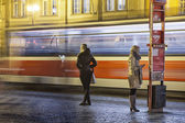 People on the bus-station on Evening — Stock Photo