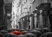 дождливой улице в барселоне — Стоковое фото