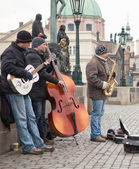 Street musicians in Prague — Stock Photo